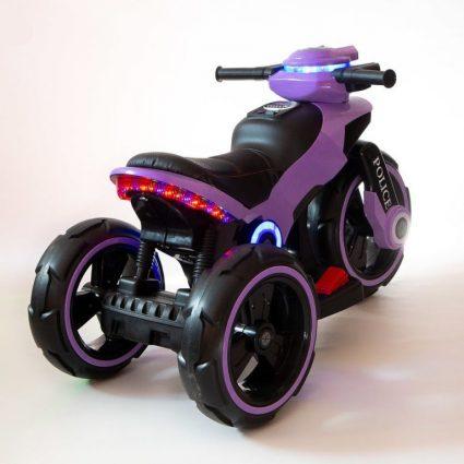 Электромотоцикл Y-Maxi YM 198 Police сиреневый (кресло кожа, амортизация, подсветка, музыка, скорость 6-7 км\ч)